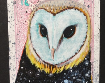 Barn Owl Star on a playing cards. Original acrylic painting. 2014