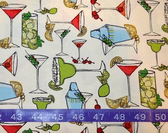Ink & Arrow Fabrics. Happy Hour. Cocktails Cream - BTY Cotton Fabric - Choose your cut