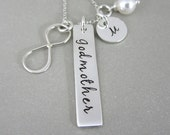 Godmother Gifts Hand Stamped Personalized Godparent Gifts, Godmother Necklace, Silver Woman Personalized Jewelry, Custom Godmother Necklace