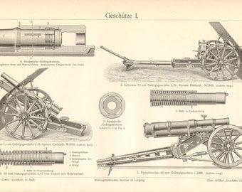 1910 Artillery, Guns, Mountain Guns Orginal Antique Engraving