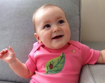 Ladybird Pink Baby Organic Cotton Ladybug Bodysuit Perfect baby shower Gift/ leaf with ladybird