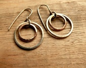 Hammered Copper Earrings Silver Circle Mixed Metal Earrings Jewelry
