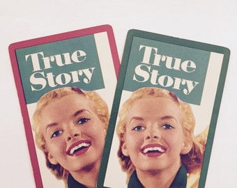 "Vintage Single Swap Playing Cards (1 pair) Paper Epherema Scrapbook Collectibles ""True Story Magazine"""
