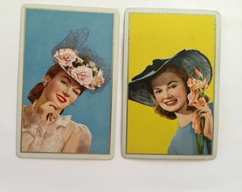 Vintage Single Swap Playing Cards (1 pair) Paper Epherema Scrapbook Collectibles