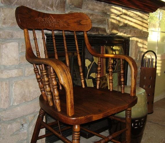 Antique Oak Chair Vintage Wood Captain Chair By