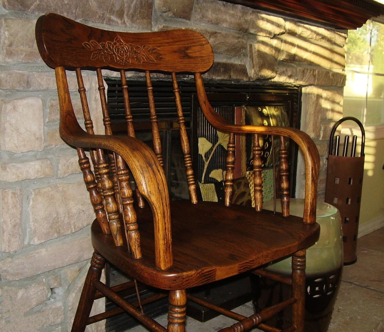Antique Oak Chair Vintage Wood Captain Chair Spindle Back
