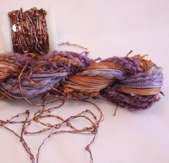 Amethyst purple copper beaded embroidery thread with seed