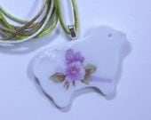 Sheep Pendant Broken China Floral Sterling Silver Plate Bail with Satin Cord #478