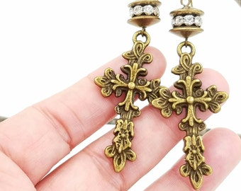 Inspirational Earrings with  Fleur de Lis Cross || Dangle || Bronze and Rhinestones || Long Earrings || Spiritual Jewelry