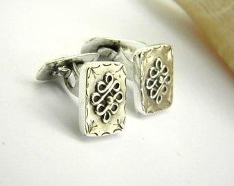 Sterling silver cufflinks antique vintage style 925 silver art nouveau men jewelry handmade cuff links