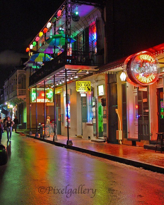 Reserved for Molly Fay - Reflections on Bourbon Street - New Orleans, Louisiana 8x10 Fine Art Giclee Print