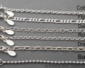 Sterling silver Chain - .925 - Drawn Cable - Ball Chain - Figaro Chain - Rollo Chain - Dainty - Necklace - Jewelry Supplies - Men - Women