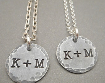Matching Couples Necklaces - Couples Jewelry - Jewelry Set - Initial Necklace - Monogram Necklace - Hand Stamped - His & Hers Necklaces
