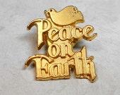 Christmas Pin, Vintage Pin, Vintage Tack Pin, Christmas Lapel Pin, Peace on Earth, Dove Bird, Gold Tone, Tack Back, Christian Jewelry