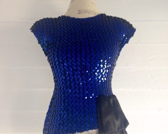 Vintage 1980s SEQUINED Blue & Black Sleeveless Blouse