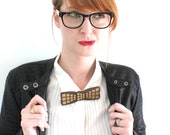 It's Hip to Be Square Metallic Wooden Bow Tie - Laser Cut Metallic Gold Holiday Fashion Accessories