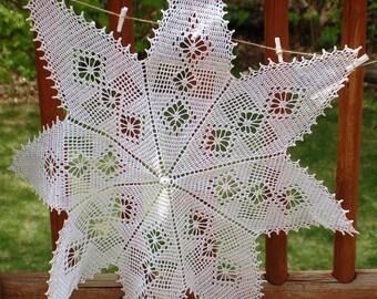 Crochet Star Pattern 8 Point Doily Buffet Table Spring Wedding Tea Brunch Luncheon Christmas Skirt