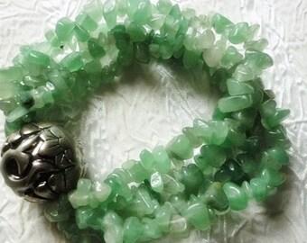 Jade nugget vintage multi strand bracelet,Ornate silver Bead jade Bracelet