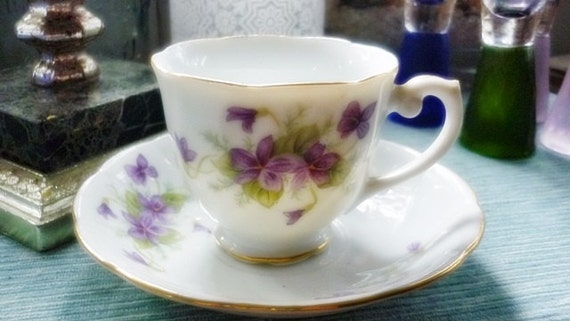 Violets Demitasse Old Gold China Cup,Vintage Violets Japan Porcelain Cup & Saucer