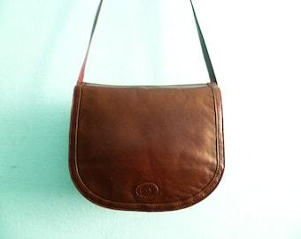 Vintage brown leather purse saddle bag crossbody small messenger coach bag