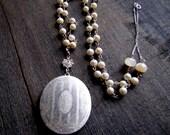 Vintage Locket Freshwater Pearl Chain Necklace Silver Locket Unique Keepsake Locket Gemstone Jewelry Gemstone Locket Photo Locket Oval