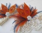 Burnt Orange & Navy Blue Wedding Garter Set, Halloween, Peacock Bridal Garters, Ivory Pearl Lace Garter, Fall Harvest /Rustic /Country Bride