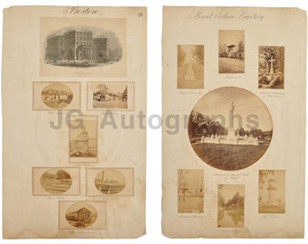 "19th Century Massachusetts - Self Made ""poster"" with 14 Vintage Photos - 1866"