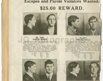 Wanted Notices - 2 Vintage Sheets - New Jersey Reformatory, Rahway, Nj - 1912