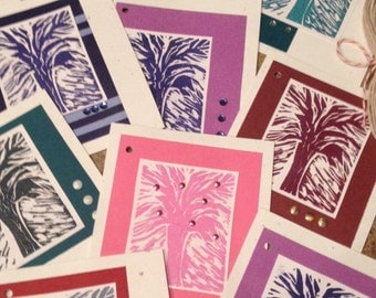 10 Handmade Hand pulled Abstract Tree Linocut Print gift tag, Paper2Roses Design, attach to Gift Basket, Tie around Bottle, embellishments