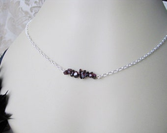 Garnet Chips Wedding Bridesmaid Bridal Party Chain Necklace