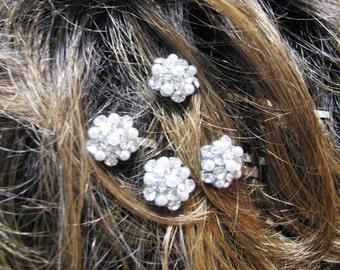 Rhinestone Hair Pins -- Bridal Hair Pins, Bobby Pins, Faux White Pearl Crystal Rhinestones, Wedding Hair Pins, Bridal Jewelry