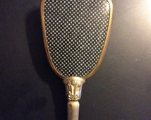 Vintage Sales Vintage blue and gold  Long Handled Hair Brush metal gold floral design gold tone finish this one is vintage