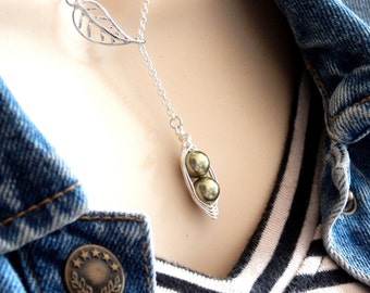 Peas in a pod, Pea pod lariat necklace, Two peas in a pod, leaf lariat necklace