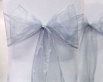Organza Chair Sashes 75 Silver  8 X 108  Wedding Birthdays corporate Events  Pew Bows Ships flat Untied
