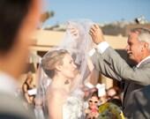 Wedding Veil Bridal Illusion Tulle Folded Mantilla Chapel Length Blusher Veil The Kloe Veil