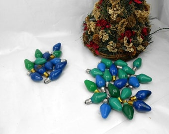 Vintage C5 blue and green christmas lights Seahawks colors seahawk holiday decor green and blue 12th man decor C7 Christmas lights