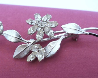 Vintage Sterling 925 Silver & Rhinestone Flower Floral Brooch By D'or #77121