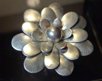 Vintage Convertible Wear as Pendant or Brooch Sterling Silver Flower by F. Balladares B Taxco (OMG #77046)