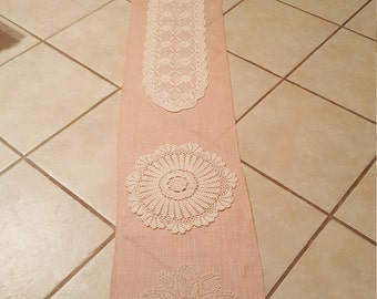 Rustic wedding runner , Blush runner, Table runner, burlap and crochet runner