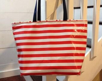 Medium Tote Bag/ Red Bag/ Striped Tote Bag/Oilcloth Bag/ Waterproof Bag/Beach Bag Pool/Waterproof Pool Bag/ Boat Bag/ Teacher Bag/ Polka Dot