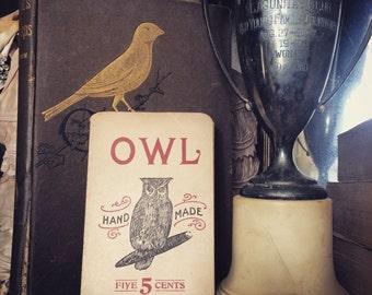 Antique Cigar Tobbaco Owl Advertisement Small Bag