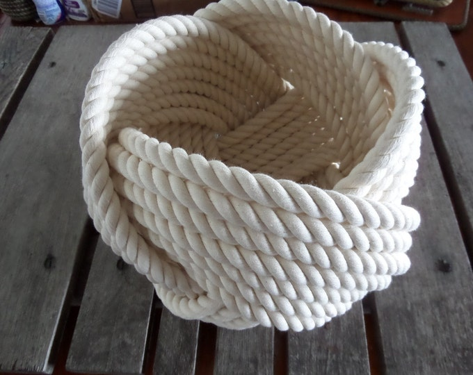 "Nautical Decor Cotton Rope Bowl Basket 10 x 8"" Large Tightly Woven Knotted Beach"
