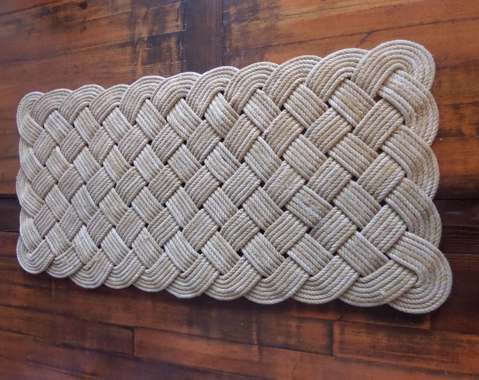 "Large Soft Hall Runner Natural Rope Recycled Fishing Line 48 x 24"" Rope Rug Nautical Rustic Beach Knotted"