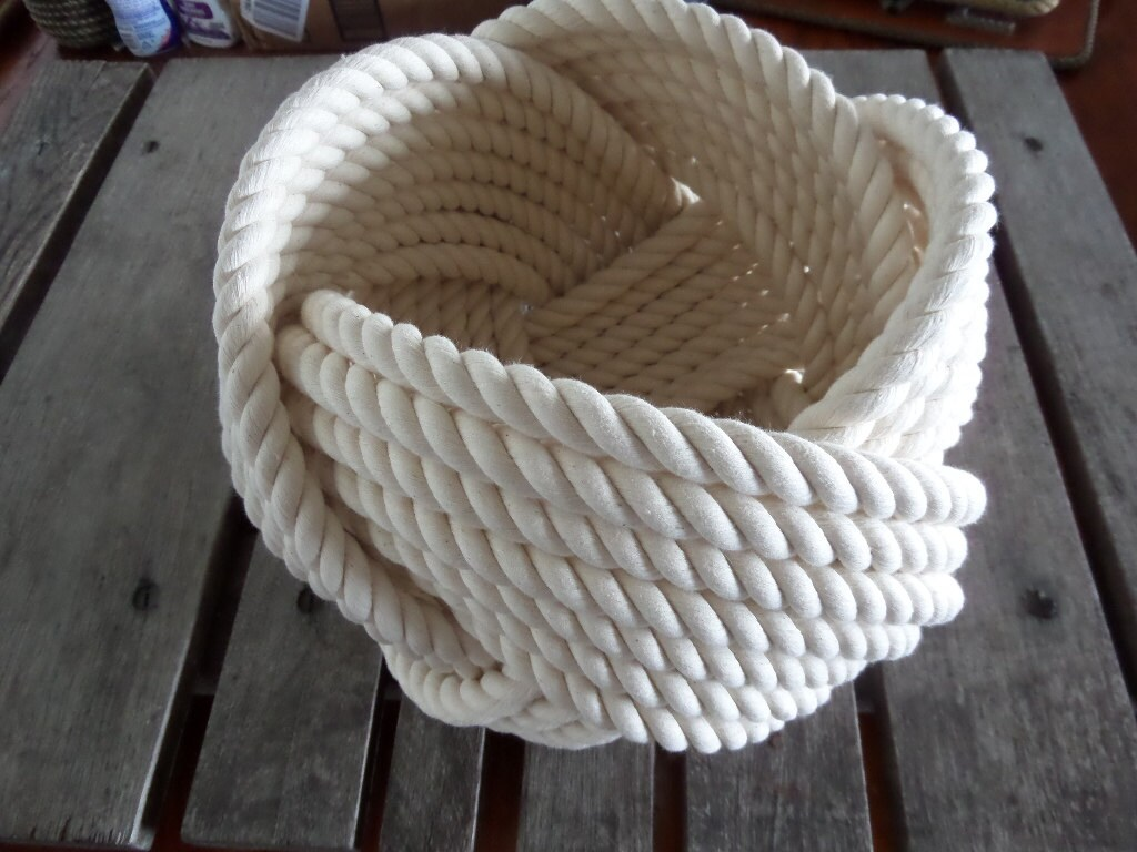 Nautical decor cotton rope bowl basket 10 x 8 large for Large nautical rope