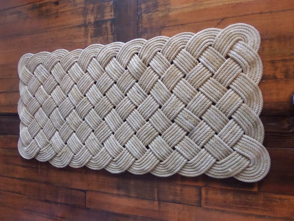 Large soft hall runner natural rope recycled fishing line for Rope carpet