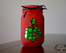 Christmas Decorations, Winter Decor, Christmas Tree Decor, Red, Christmas Decor, Solar Light, Winter Mason Jars, Christmas Mason Jar