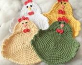 Chicken Rooster Potholder Crochet Set of 4--Made To Order--Trivet, Hot Pad, Pot Holder, Dishcloth, Kitchen Chicken, Swanky Chicken, Rooster