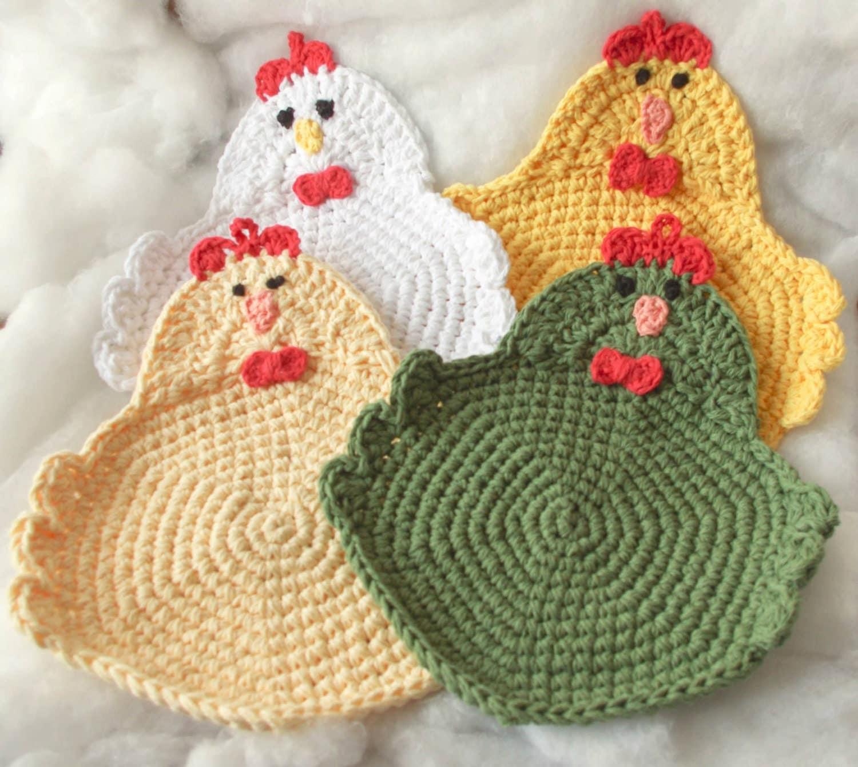 Easter Pot Holders Crochet: Chicken Rooster Potholder Crochet Set Of 4Made To