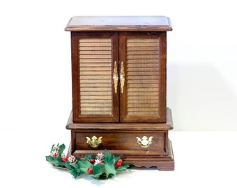 Vintage wooden jewelry armoire box, brown chest of drawers, trinket box