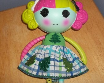 Lalaloopsy Doll dress blue green and white with Christmas trees